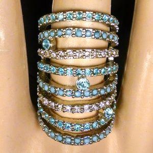 Elegant Filigree Blue Rhinestones Cocktail Ring
